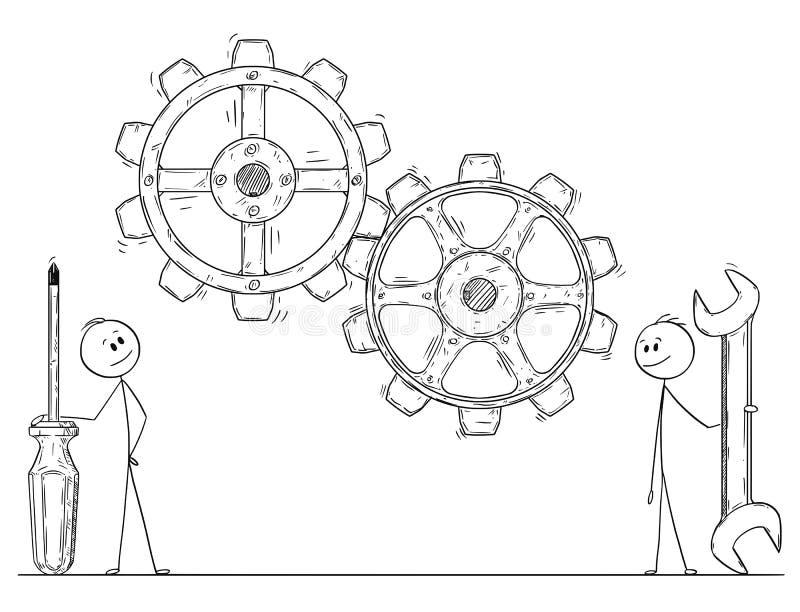 Un fumetto di due uomini o uomini d'affari con gli ingranaggi del cacciavite e della chiave o le ruote di sorveglianza del dente illustrazione di stock