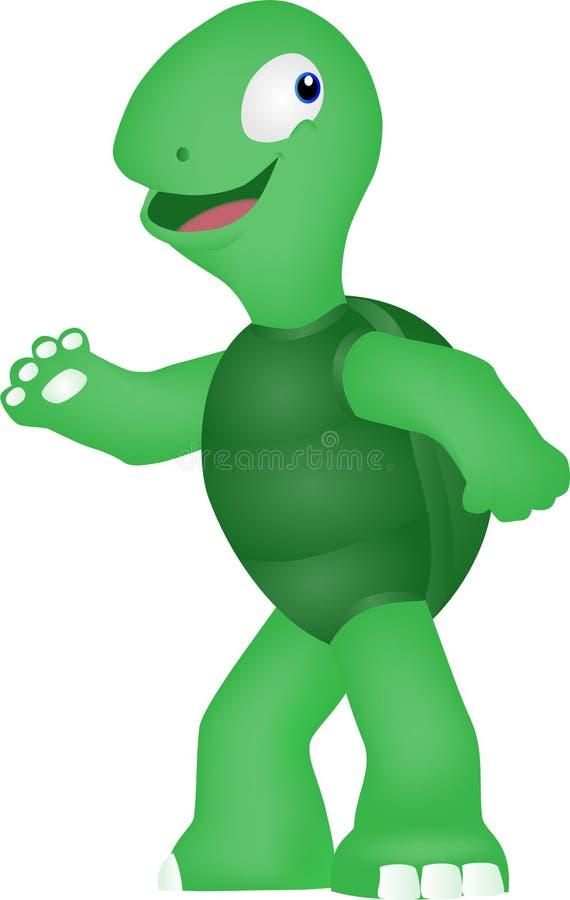 Un fumetto di una tartaruga funziona un giorno soleggiato illustrazione vettoriale