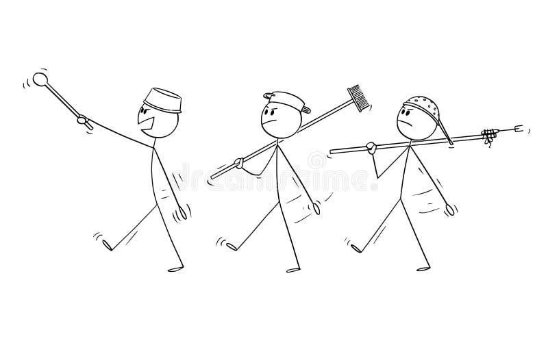 Un fumetto di vettore di tre uomini adulti che giocano ai soldati ed alla marcia illustrazione vettoriale