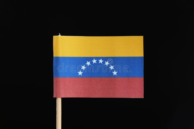 Un funcionario y una bandera original de Venezuela en palillo en fondo negro Un tricolor horizontal de amarillo, de azul y de roj fotografía de archivo libre de regalías