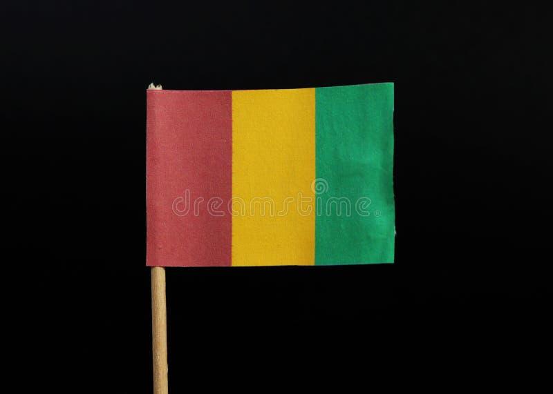 Un funzionario A e una bandiera nazionale della Guinea Consiste del verticale tricolour di rosso, di giallo e di verde fotografia stock libera da diritti
