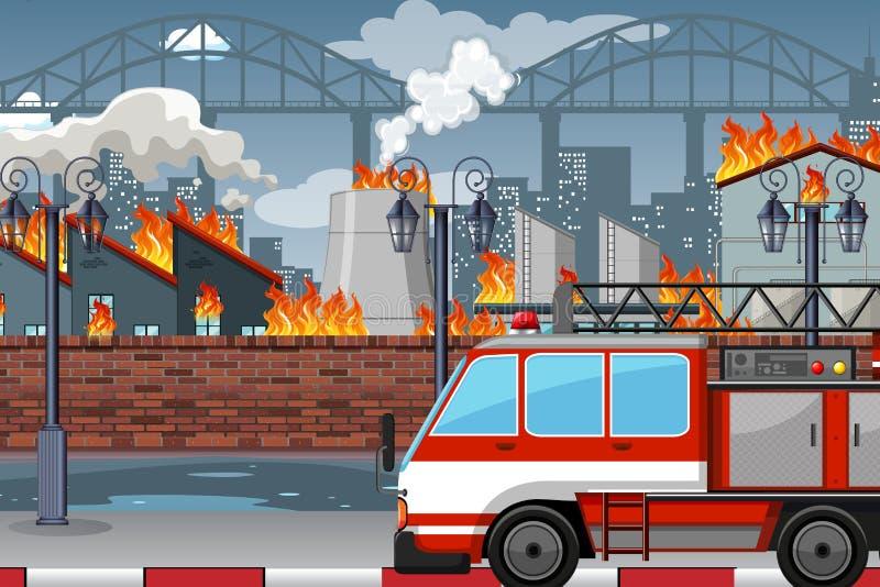 Un fuoco nella fabbrica illustrazione di stock
