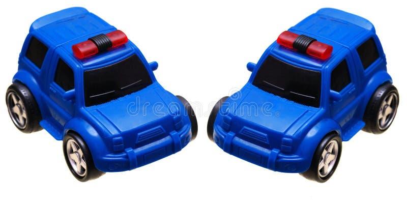 Un furgone di polizia blu dell'automobile del giocattolo fotografia stock libera da diritti