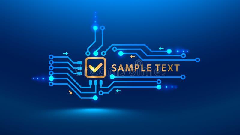 Un futuro del cybersecurity de la marca de verificación del oro Estilo electrónico del PWB de la placa de circuito de la impresió stock de ilustración