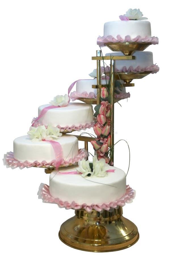 Un gâteau de mariage six à gradins image stock