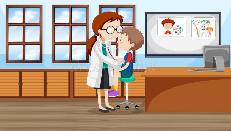 Un garçon à l'hôpital illustration stock