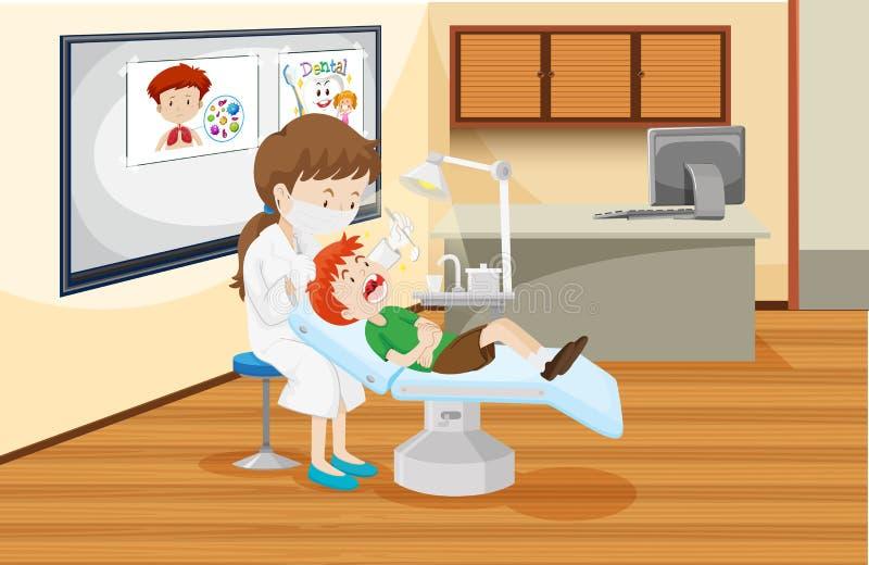 Un garçon à la clinique dentaire illustration libre de droits