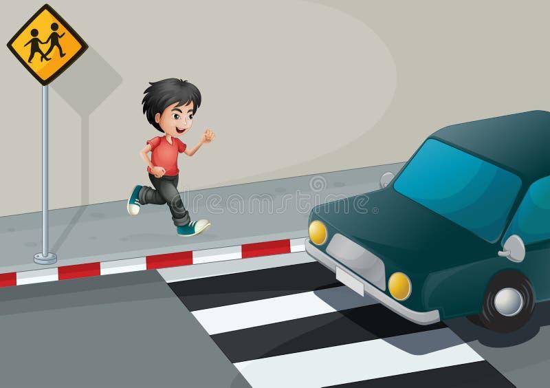 Un garçon à la rue attendant la voiture illustration stock