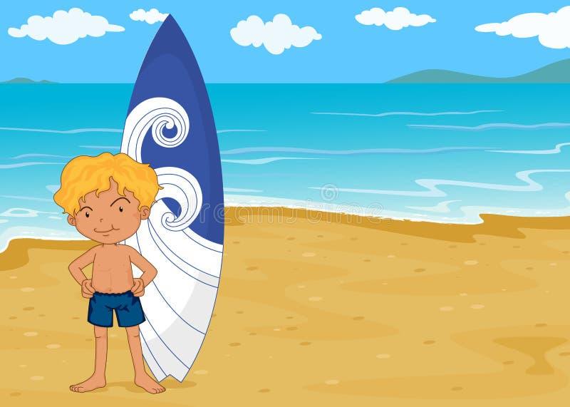 Un garçon avec la garniture de vague déferlante illustration stock