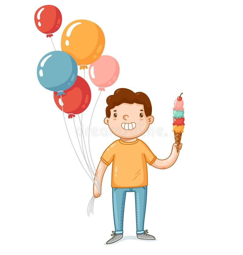 Un garçon avec les ballons et la crème glacée  illustration de vecteur