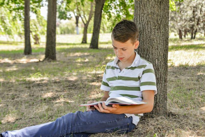 Un garçon avec un manuel sous un arbre se prépare aux tâches d'école et fait des leçons en nature en parc photos libres de droits