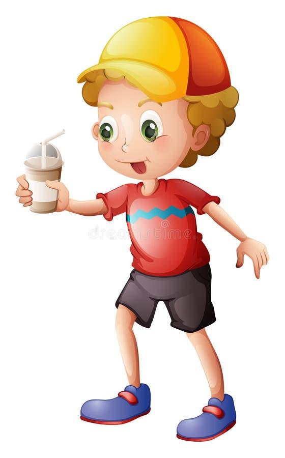 Un garçon avec un verre jetable illustration de vecteur