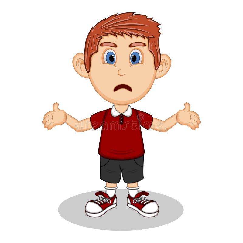 Un garçon avec une expression de bande dessinée d'étonnement et de tristesse illustration libre de droits