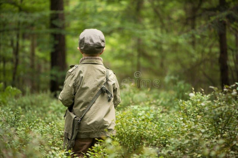 Un garçon dans les bois, se tenant parmi des arbres, supports avec le sien de retour tourné image libre de droits