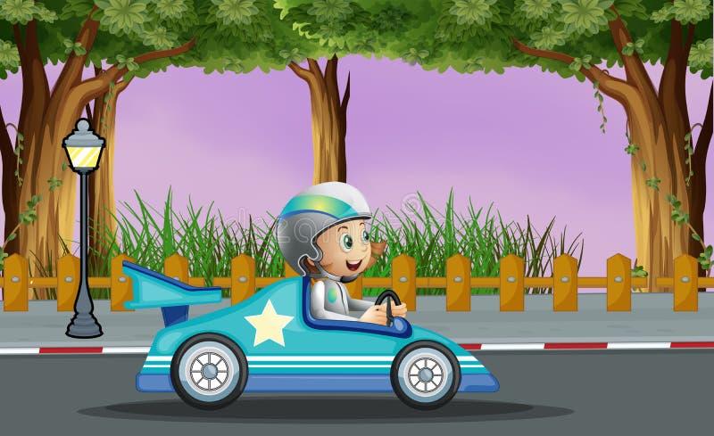 Un garçon dans sa voiture de course bleue avec une étoile blanche illustration libre de droits