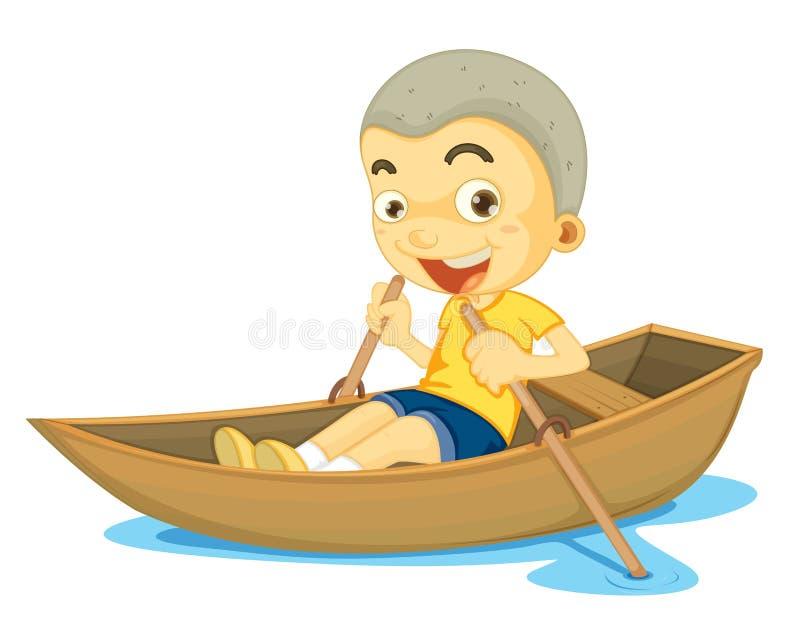 Un garçon dans un bateau illustration de vecteur