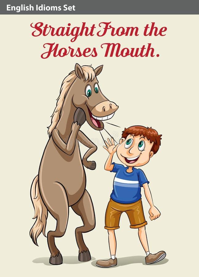 Un garçon et un cheval illustration stock