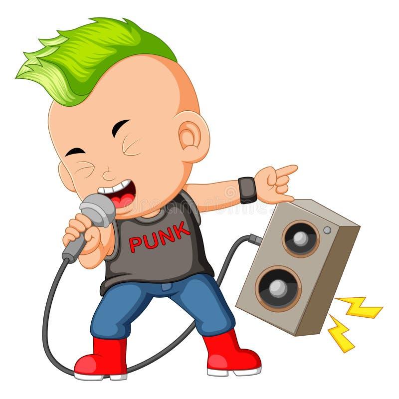 Un garçon habillé comme Rockstar chantant devant un haut-parleur illustration stock