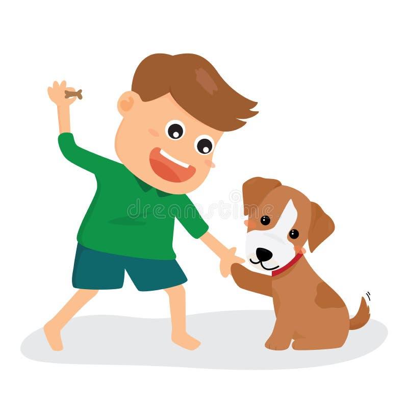 Un garçon joue avec son chien illustration de vecteur