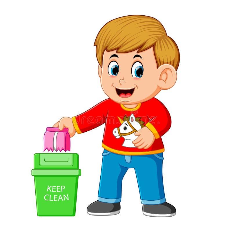 Un garçon maintenir l'environnement propre par le trush dans la poubelle de déchets illustration de vecteur