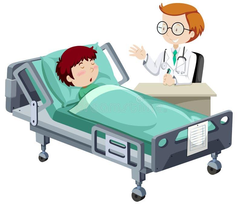 Un garçon malade dormant dans l'hôpital illustration stock