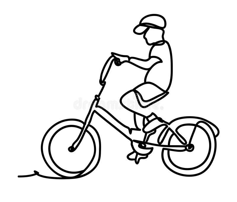 Un garçon mignon montant une bicyclette sur un fond blanc Dessin au trait continu D'isolement sur le fond blanc Vecteur illustration stock
