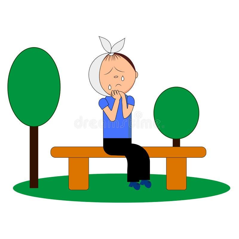 Un garçon pleurant d'un mal de dents sur un banc illustration stock