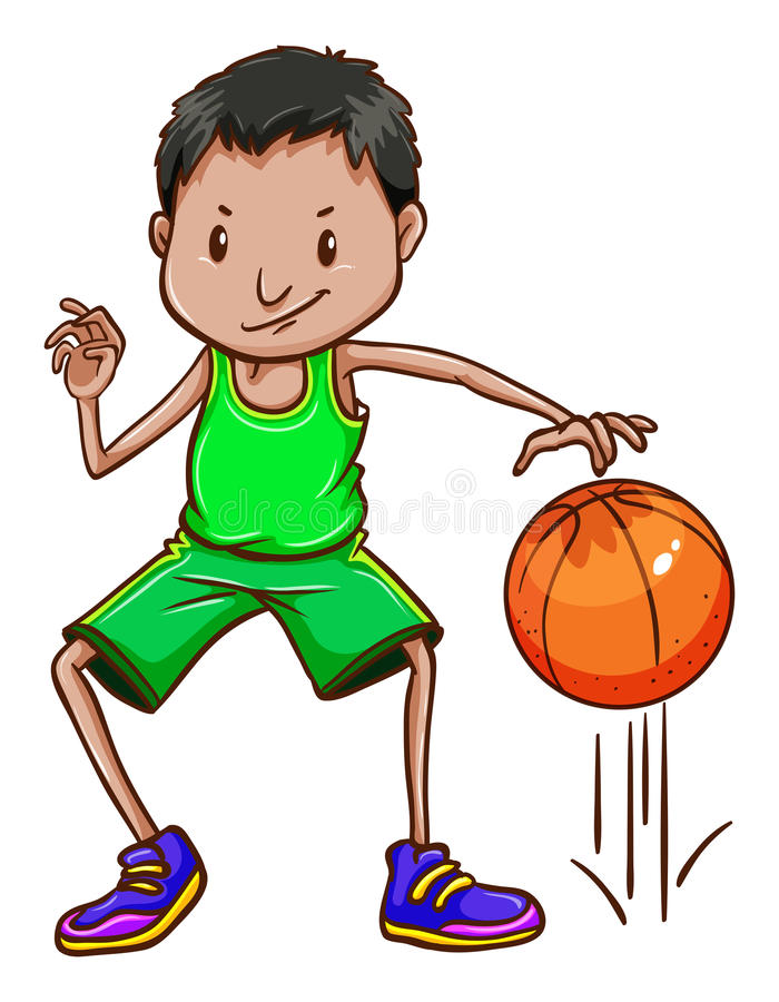 Un garçon portant un uniforme vert illustration stock
