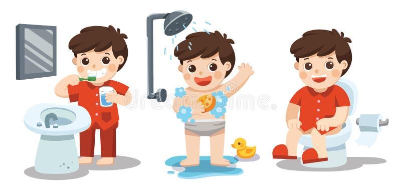 Un garçon prenant un bain, dents de brossage, se reposant sur la toilette illustration de vecteur