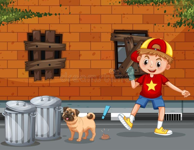 Un garçon prennent la dunette de chien illustration de vecteur