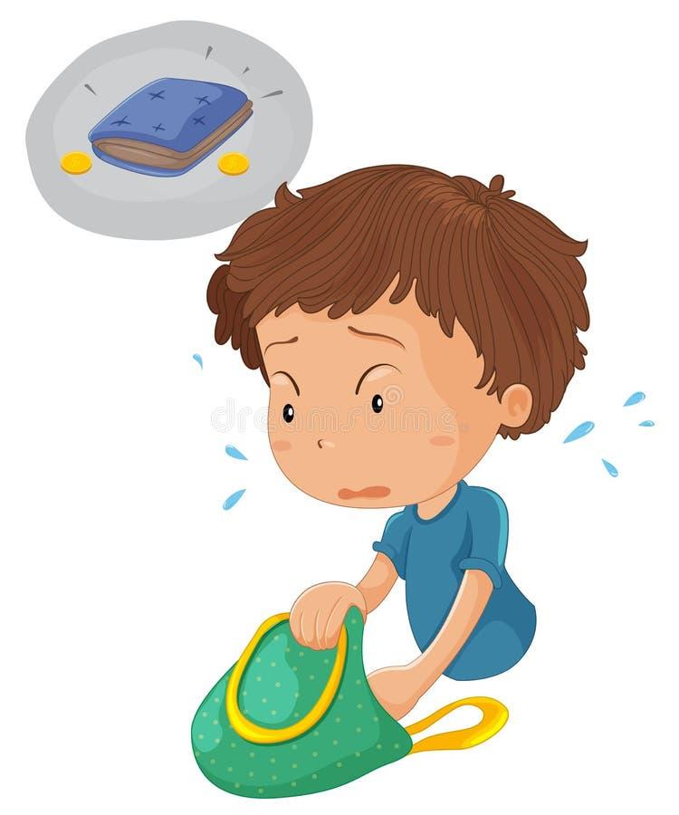 Un garçon recherchant la pochette et la pièce de monnaie illustration stock