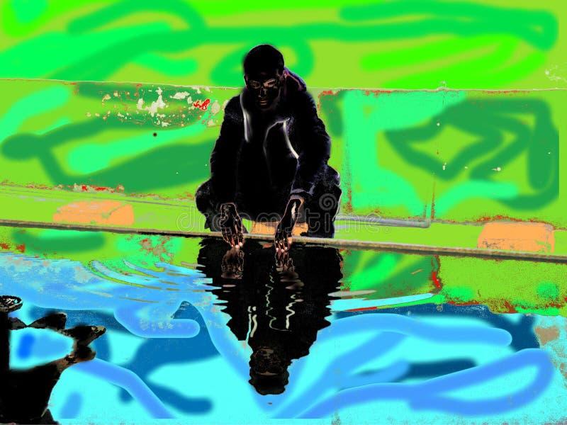 Un garçon s'asseyant près du lac illustration libre de droits