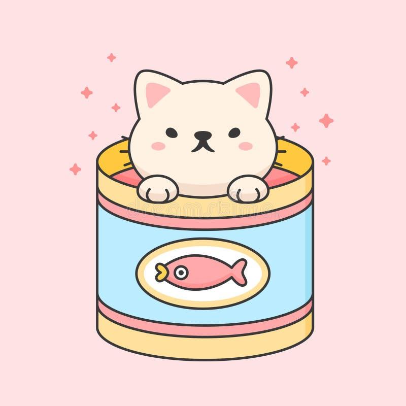 Un gato chiquito en una lata de atún libre illustration
