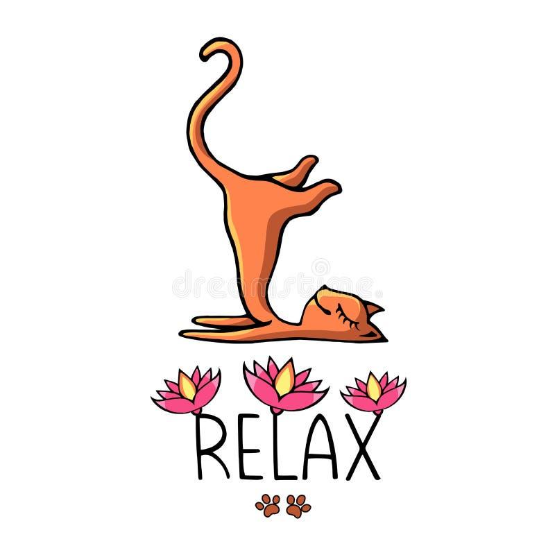 Un gato de la yoga del jengibre con una inscripción adornada con lotos rosados fotografía de archivo