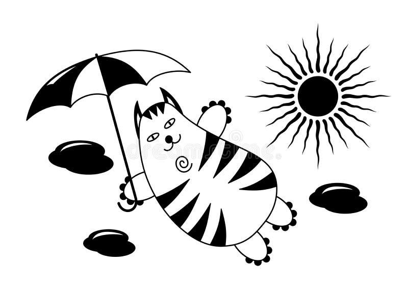 Un gato de vuelo con un paraguas en el cielo contra un fondo de nubes y del sol Un dibujo chistoso divertido Gráficos de vector libre illustration