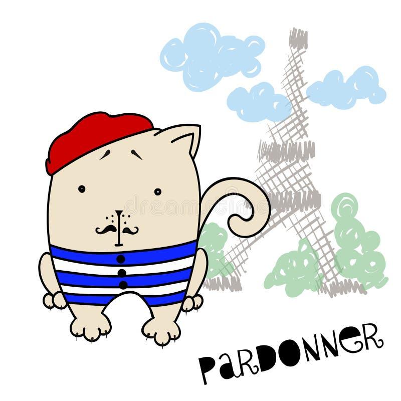 Un Gato Francés En Una Boina Y En Un Chaleco Contra La Perspectiva ...