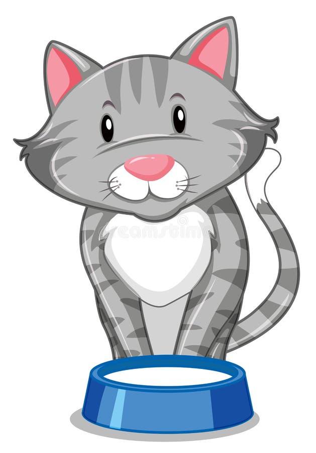 Un gato gris con la bandeja de la comida stock de ilustración