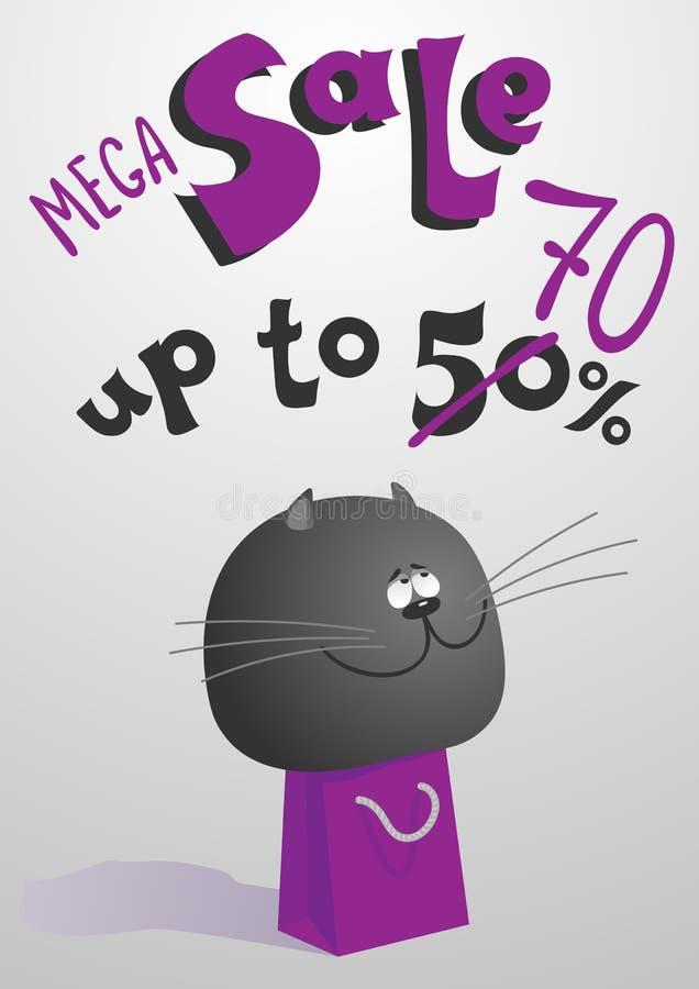 Un gato gris contento grande stock de ilustración