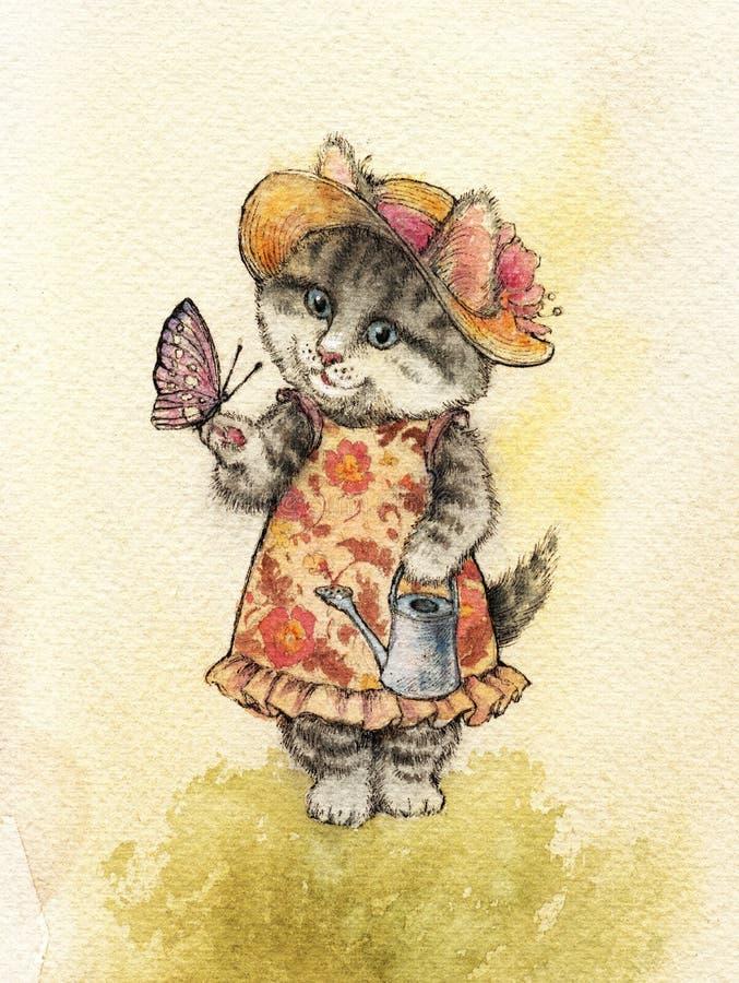 Un gato mullido rayado gris con los ojos azules y un sombrero con una flor stock de ilustración