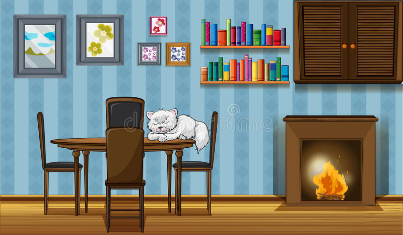 Un gato que duerme sobre la tabla al lado de la chimenea libre illustration