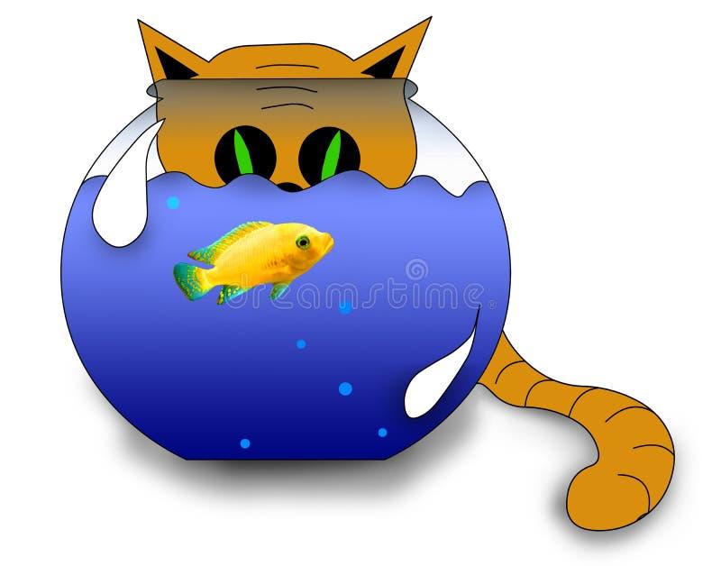 Un gato que mira un pescado stock de ilustración
