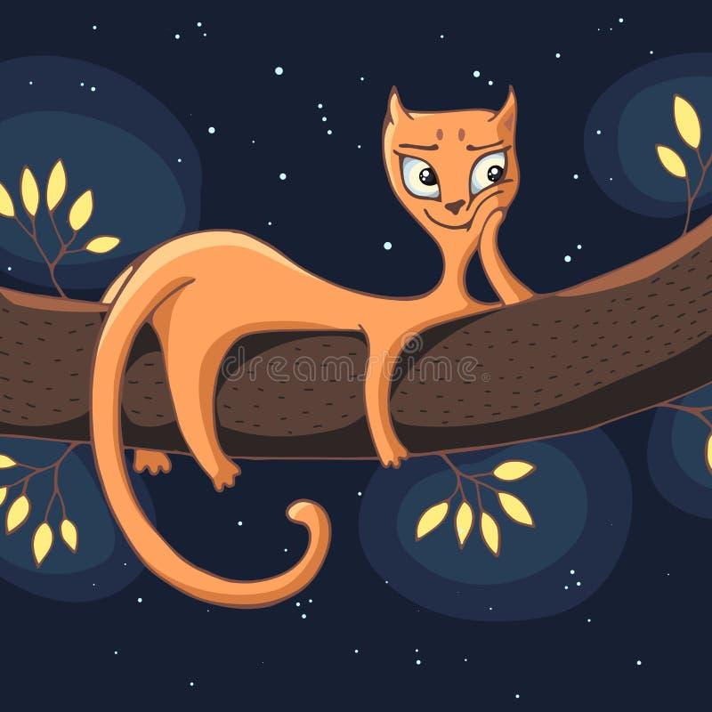Un gato rojo miente en una rama de árbol en la noche contra un cielo estrellado V ilustración del vector