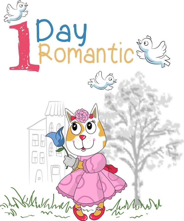 Un gato romántico del día stock de ilustración