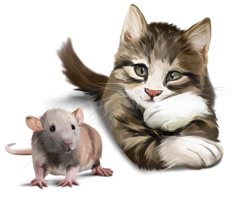Un gato y un ratón stock de ilustración
