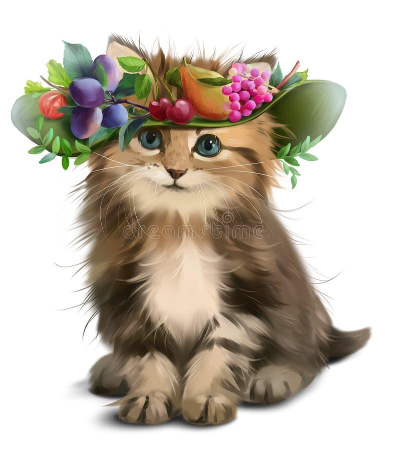 Un gattino lanuginoso e un cappello con frutta royalty illustrazione gratis