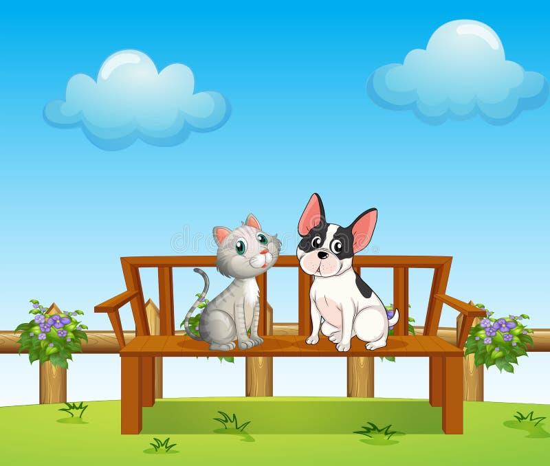 Un gatto e un cane al banco royalty illustrazione gratis