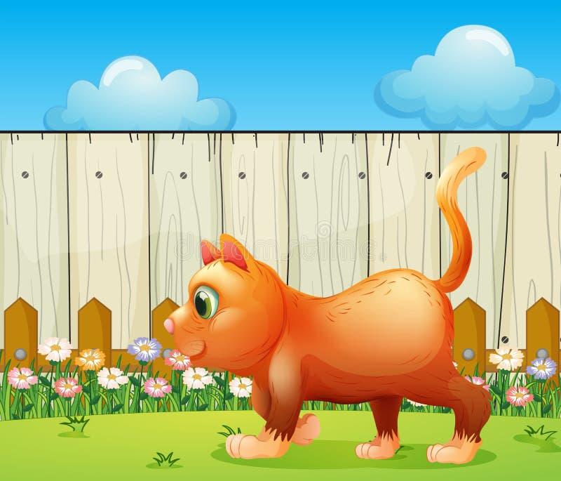Un gatto grasso al cortile royalty illustrazione gratis