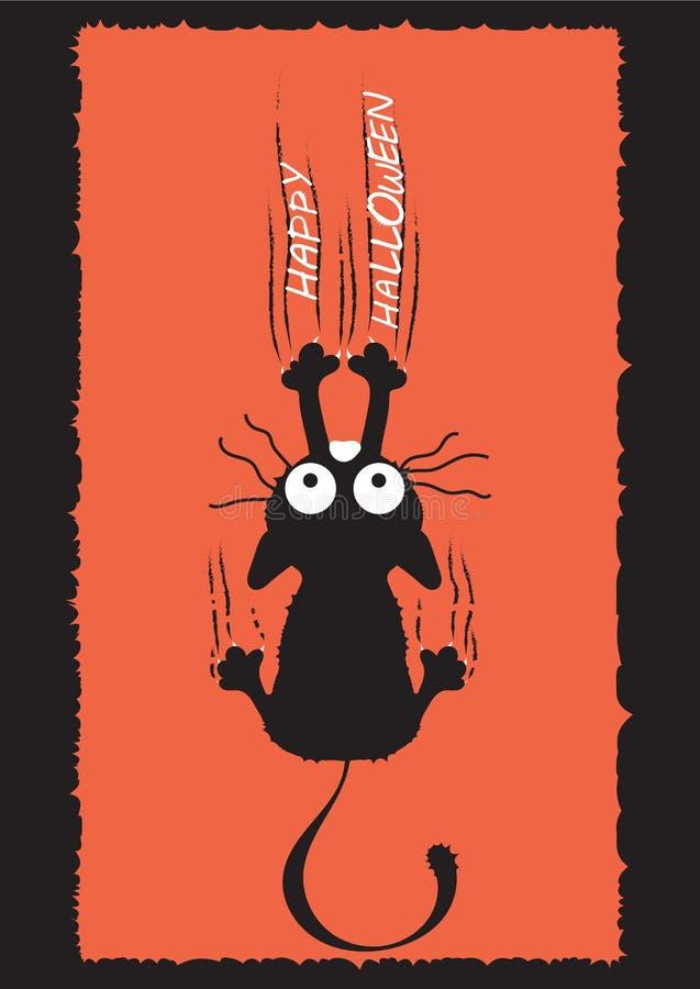 Un gatto nero scala la parete ed i graffi delle foglie L'idea per Halloween Cartolina d'auguri royalty illustrazione gratis
