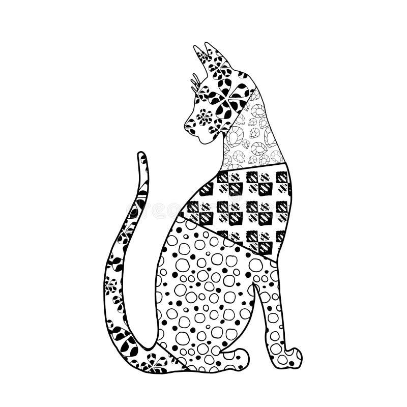 Un gatto piacevole di zen-arte con il modello interessante illustrazione di stock