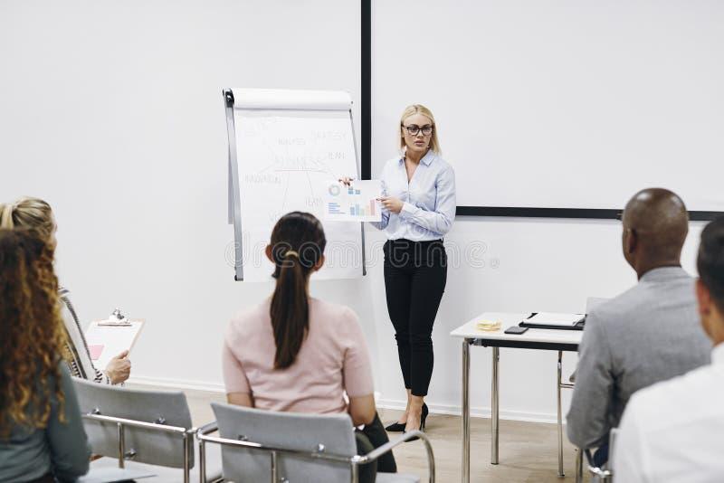 Un gestionnaire passe en revue des graphiques avec son personnel pendant la présentation photo libre de droits